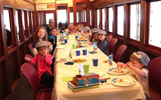 Your little engineer will adore having a birthday party inside a real railway car.